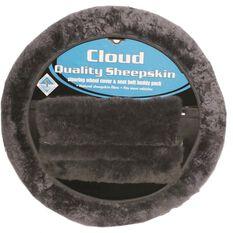 Cloud Steering Wheel Cover and Seat Belt Buddies - Sheepskin, Slate, 380mm diameter, , scaau_hi-res