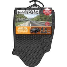 Precision Fit Custom Rubber Floor Mats 3 Pack - Suits Toyota Hilux SR5 Dual Cab 08/15+, Black, , scaau_hi-res
