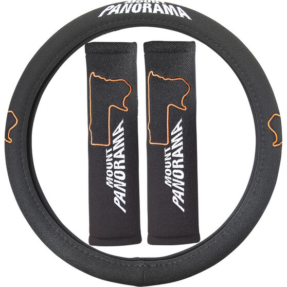 Bathurst Steering Wheel Cover & Seat Belt Buddies - Mount Panorama, , scaau_hi-res