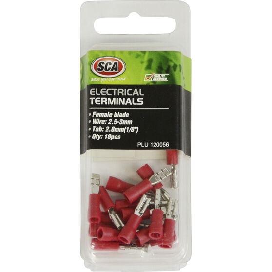 SCA Electrical Terminals - Female Blade, Red, 2.8mm, 18 Pack, , scaau_hi-res