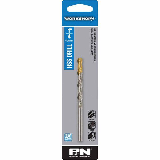 P&N Workshop Drill Bit HSS - Tin Tipped, 1 / 4 inch, , scaau_hi-res
