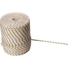 Nylon Braided Rope - Per Metre, White/Yellow/Blue, 6mm, , scaau_hi-res