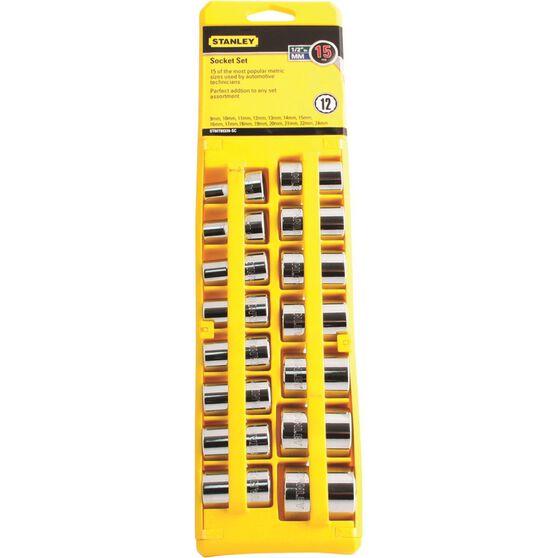 Stanley Socket Set - 1 / 2 inch Drive, Metric, 15 Piece, , scaau_hi-res