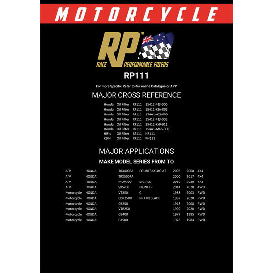 Race Performance Motorcycle Oil Filter RP111, , scaau_hi-res