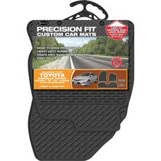 Custom Rubber Floor Mats - Black, 3 Pce, Suits Toyota Corolla Hatch 2012+, , scaau_hi-res