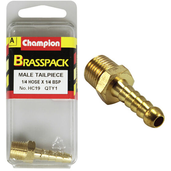 Champion Male Hose Barb - 1 / 4inch X 1 / 4inch, Brass, , scaau_hi-res