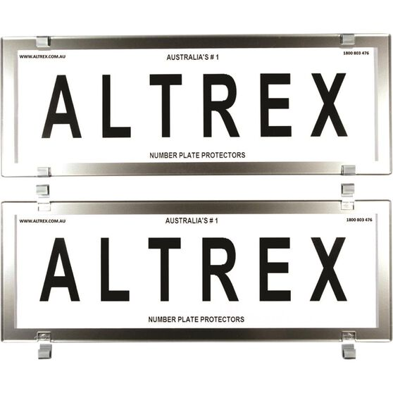 Altrex Number Plate Protector - 6 Figure, Clear, Chrome, , scaau_hi-res
