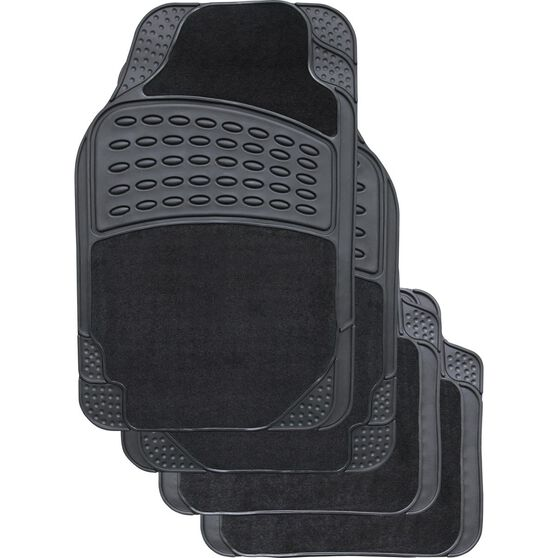 SCA Combo Car Floor Mats - Carpet / Rubber, Black, Set of 4, , scaau_hi-res