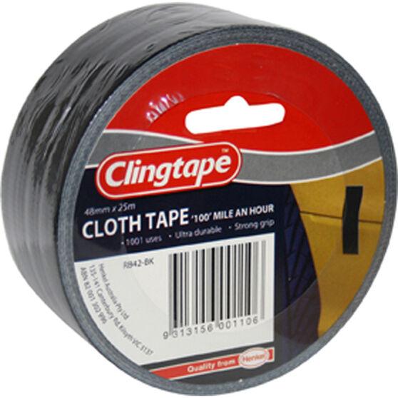 Clingtape Cloth Tape Black - 48mm x 25m, , scaau_hi-res