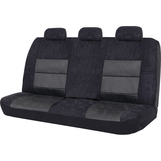 SCA Premium Jacquard and Velour Seat Covers - Black Adjustable Zips Rear Seat Size 06H, , scaau_hi-res