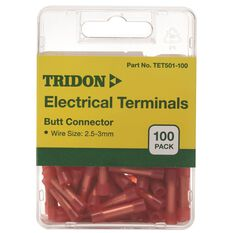Tridon Electrical Terminals - Butt Connector, Red, 100 Pack, , scaau_hi-res