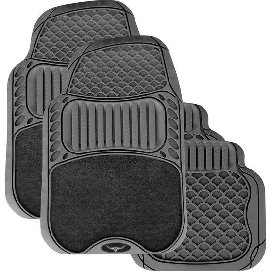 R.M.Williams Car Floor Mats Rubber/Carpet Black Set of 4, , scaau_hi-res