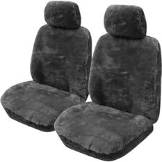 Gold Cloud Sheepskin Seat Covers - Bone, Adjustable Headrests, Size 30, Front Pair, Airbag Compatible, Slate, scaau_hi-res