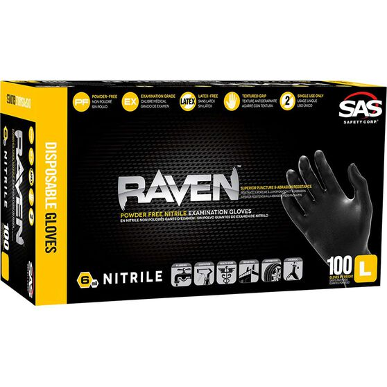 SAS Raven Nitrile Gloves - Black, Large, 100 Pack, , scaau_hi-res
