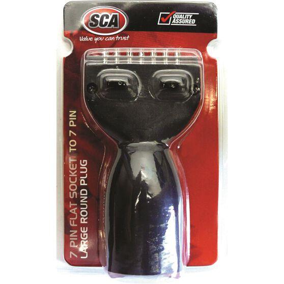 SCA Trailer Adaptor - Stubbie, 7 Pin Flat Socket to 7 Pin Large Round Plug, , scaau_hi-res
