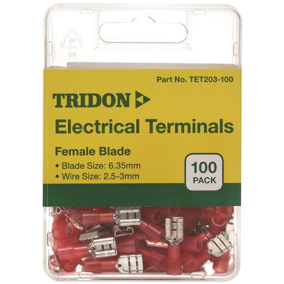 Tridon Electrical Terminals - Female Blade, Red, 6.35mm, 100 Pack, , scaau_hi-res