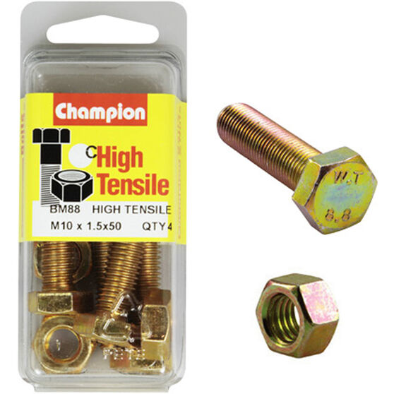 Champion High Tensile Bolts and Nuts - M10 X 50, , scaau_hi-res