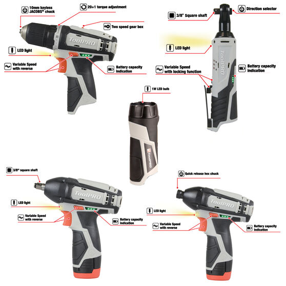 ToolPRO 12V Ultimate Power Tool Kit, , scaau_hi-res