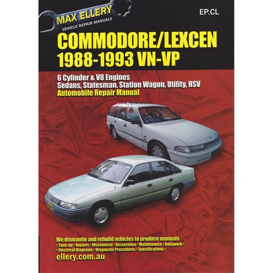 Max Ellery Car Manual For Holden Commodore / Toyota Lexcen 1988-1993 - EP.CL, , scaau_hi-res