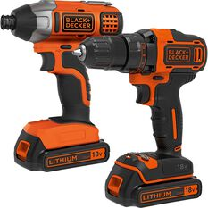 Black & Decker Cordless Drill Driver and Impact Driver Kit - 18V, , scaau_hi-res
