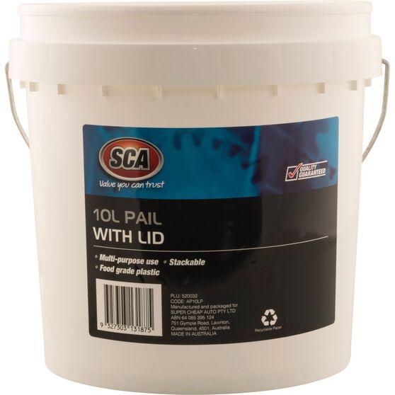 SCA Pail Bucket w /  Lid - White, 10 Litre, , scaau_hi-res