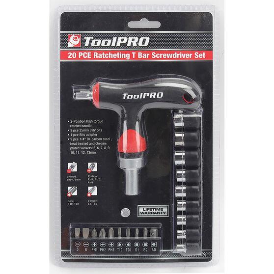 ToolPRO Screwdriver - Ratchet, T bar, 20 Piece, , scaau_hi-res