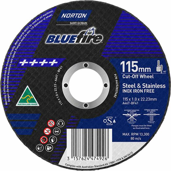 Norton Metal Cut off Disc 115mm x 1.0mm x 22mm, , scaau_hi-res