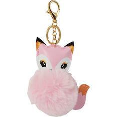 Pom Pom Keyring - Pink Fox, , scaau_hi-res