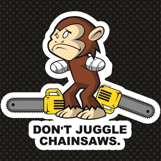 Hot Stuff Sticker - Monkey Chainsaw, Vinyl, , scaau_hi-res