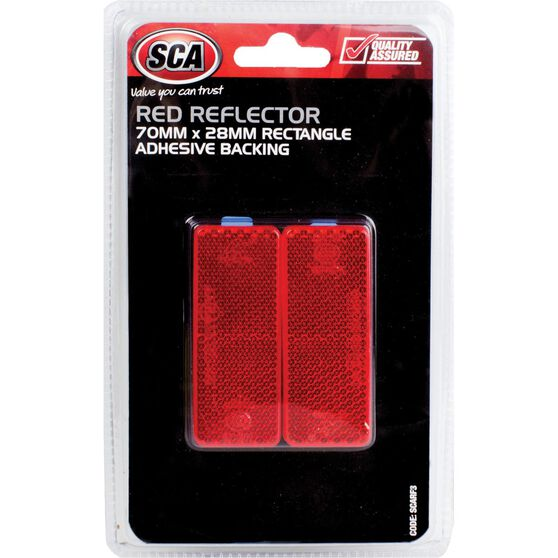 SCA Reflector - Red, 70 x 28mm, Rectangle, 2 Pack, , scaau_hi-res
