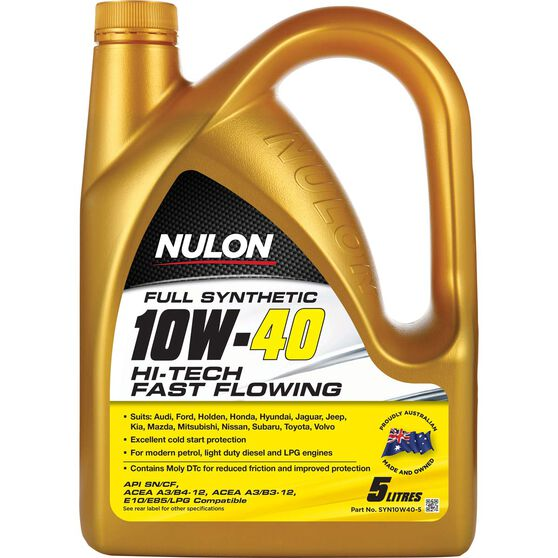 Nulon Hi-Tech Fast Flowing Synthetic Engine Oil - 10W-40 5 Litre, , scaau_hi-res