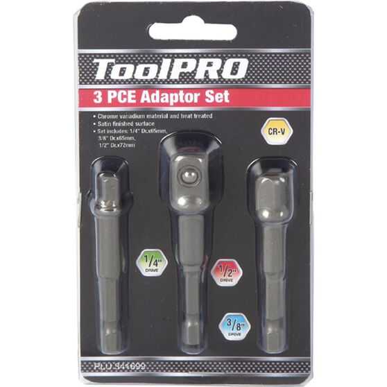 "ToolPRO Drill Bit Adaptor Set - 1/4"", 3/8"" & 1/2"", 3 Piece, , scaau_hi-res"