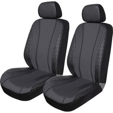 SCA Leather Look & Black Lace Seat Covers - Black, Adjustable Headrets, Airbag Compatible, , scaau_hi-res