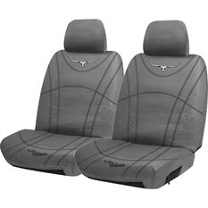 R.M. Williams Canvas Seat Cover - Charcoal, Adjustable Headrests, Size 30, , scaau_hi-res