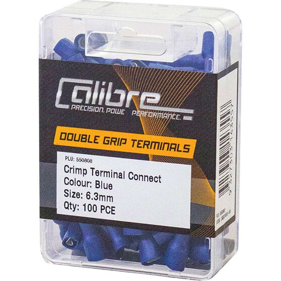 Crimp Terminal Connect Blue 6.3mm 100Pk, , scaau_hi-res