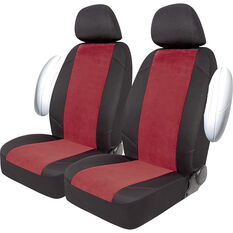 SCA Cord Seat Covers -Red/Black Adjustable Headrests Size 30 Front Pair Air Bag Compatible, , scaau_hi-res