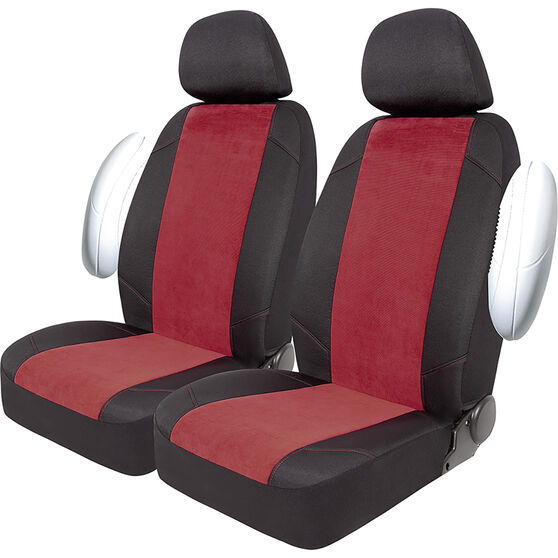 SCA Cord Seat Covers -Red/Black, Adjustable Headrests, Size 30, Front Pair, Air Bag Compatible, , scaau_hi-res