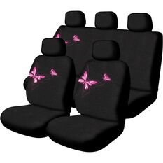 Butterfly Seat Cover Pack - Pink, Adjustable Headrests, Size 30 and 06H, Front and Rear, Airbag Compatible, , scaau_hi-res