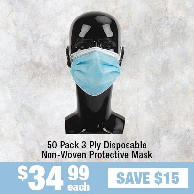 50PK 3 Ply Disposable Non-Woven Protective Mask